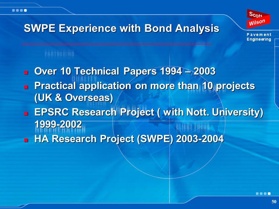 SWPE Experience with Bond Analysis