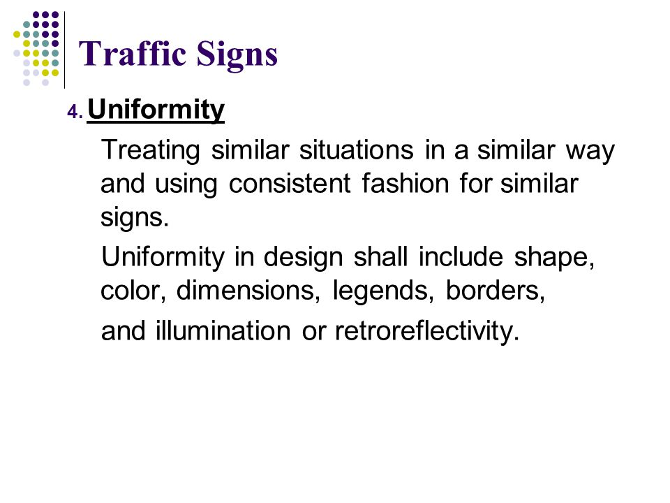 Traffic Signs Uniformity