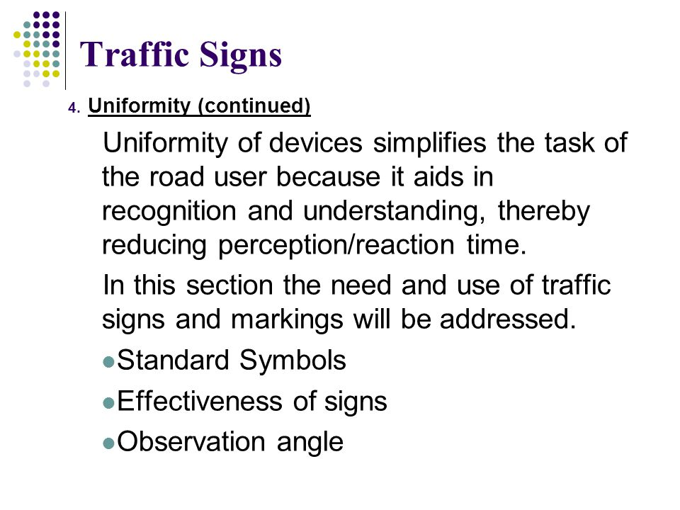 Traffic Signs Uniformity (continued)