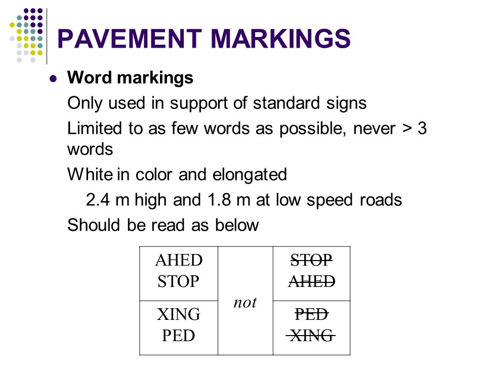 PAVEMENT MARKINGS Word markings Only used in support of standard signs