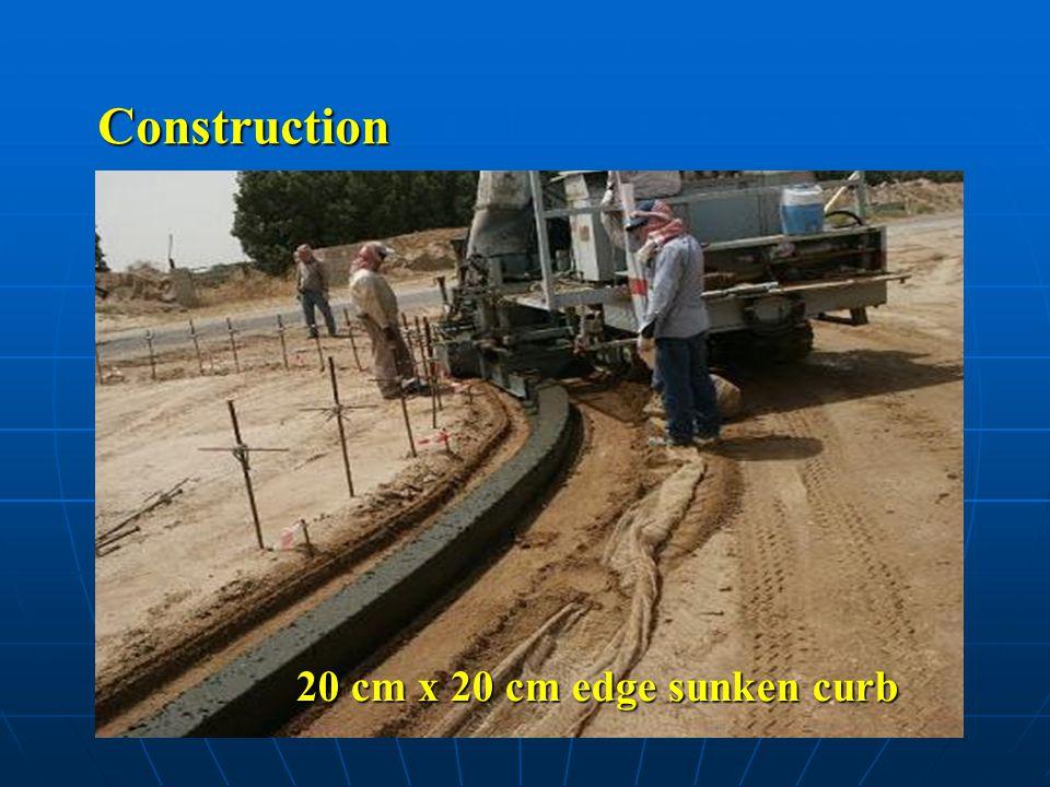 Construction 20 cm x 20 cm edge sunken curb