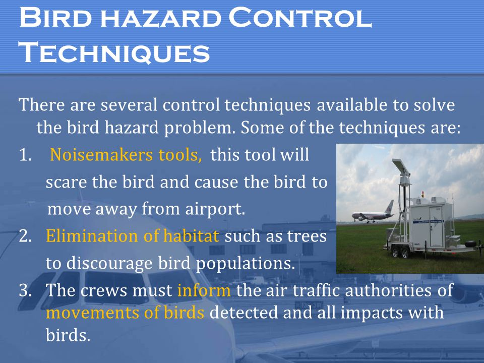 Bird hazard Control Techniques