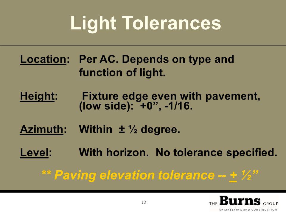 ** Paving elevation tolerance -- + ½