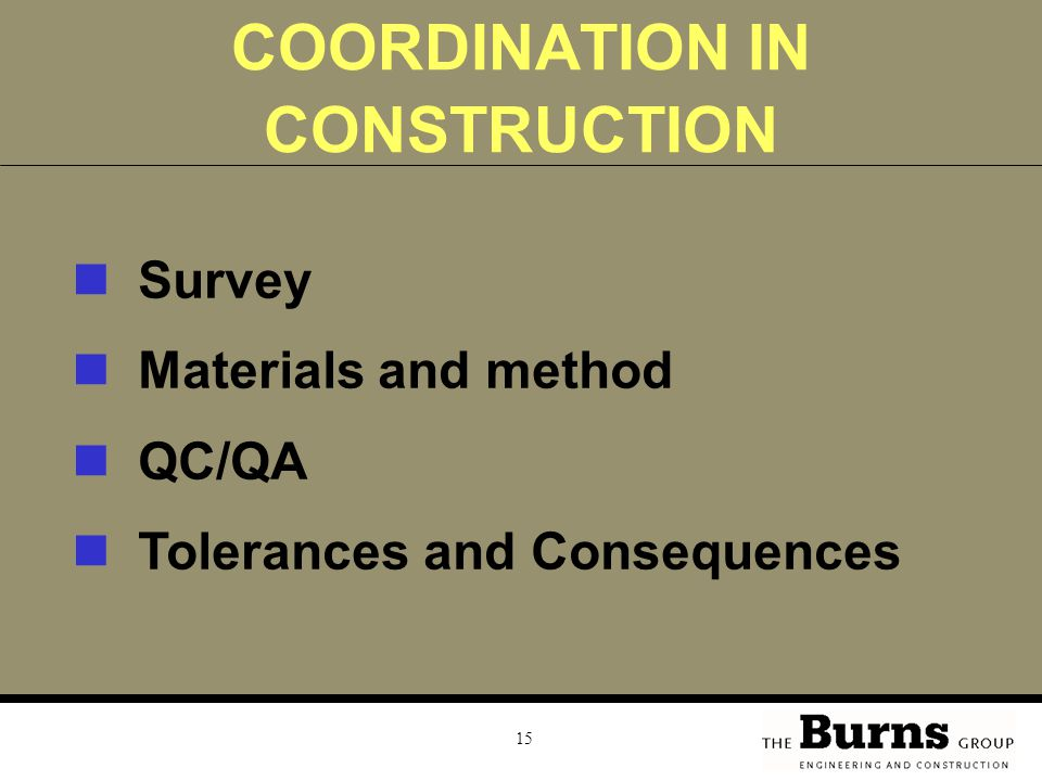 COORDINATION IN CONSTRUCTION