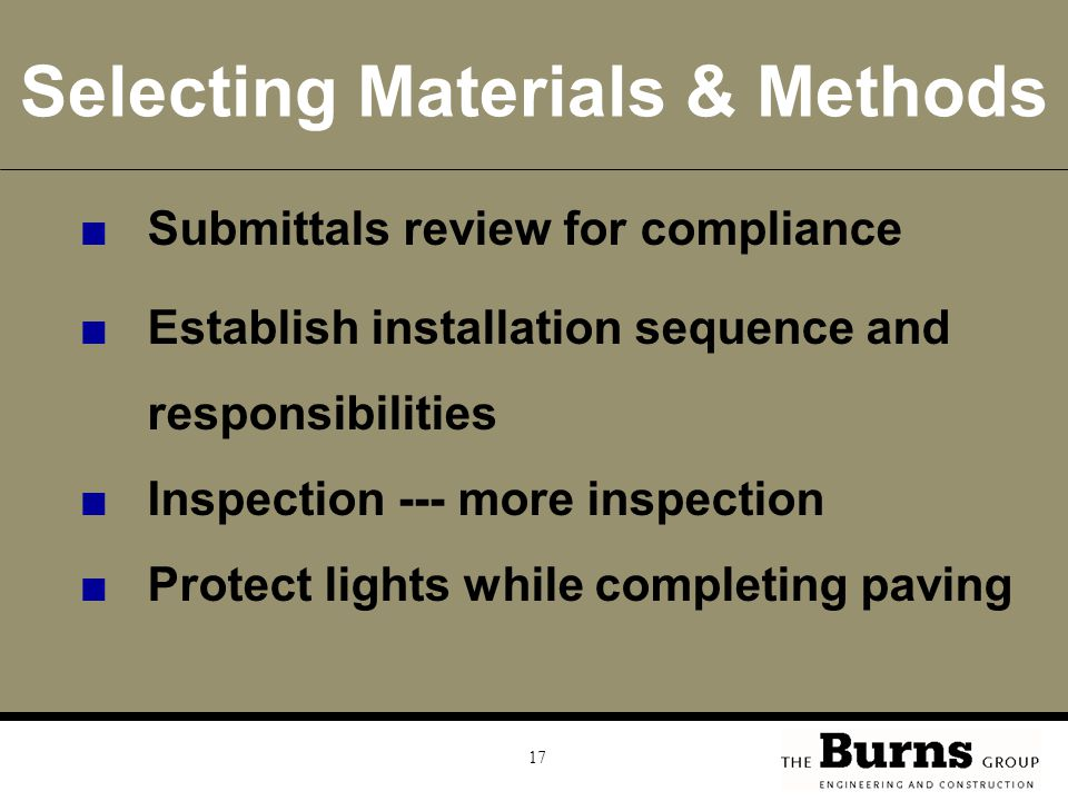 Selecting Materials & Methods