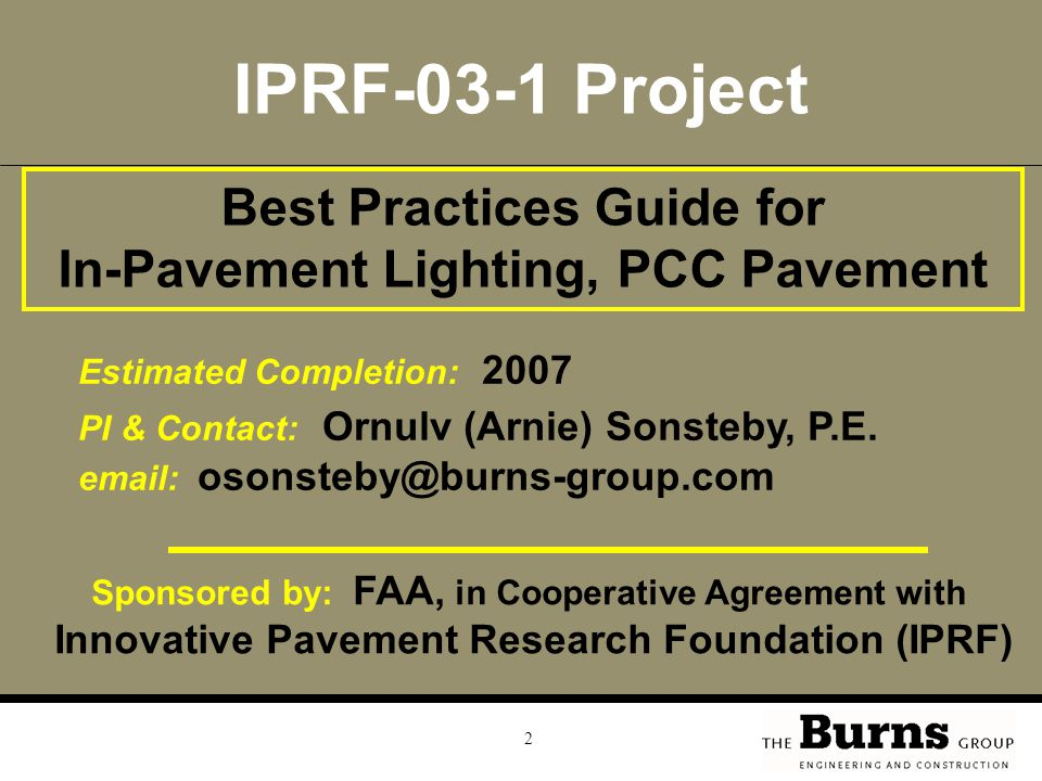 IPRF-03-1 Project Best Practices Guide for