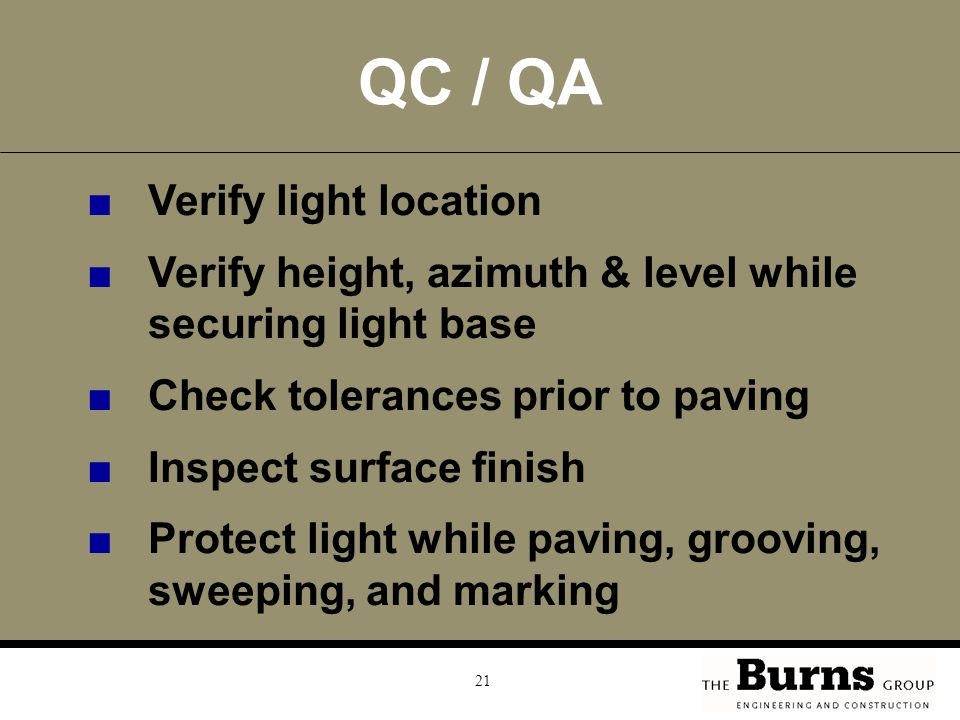 QC / QA Verify light location
