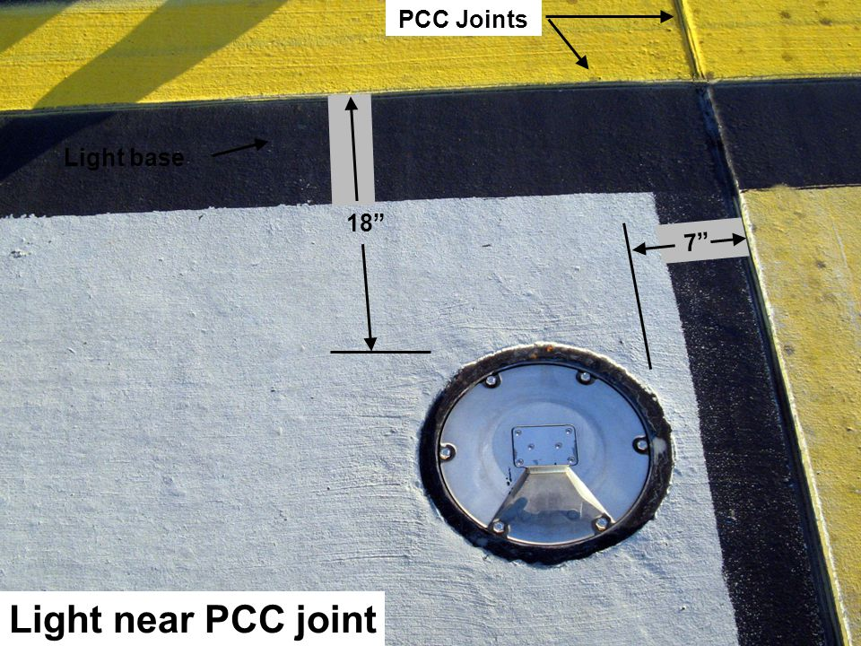 PCC Joints Light base 18 7 Light near PCC joint