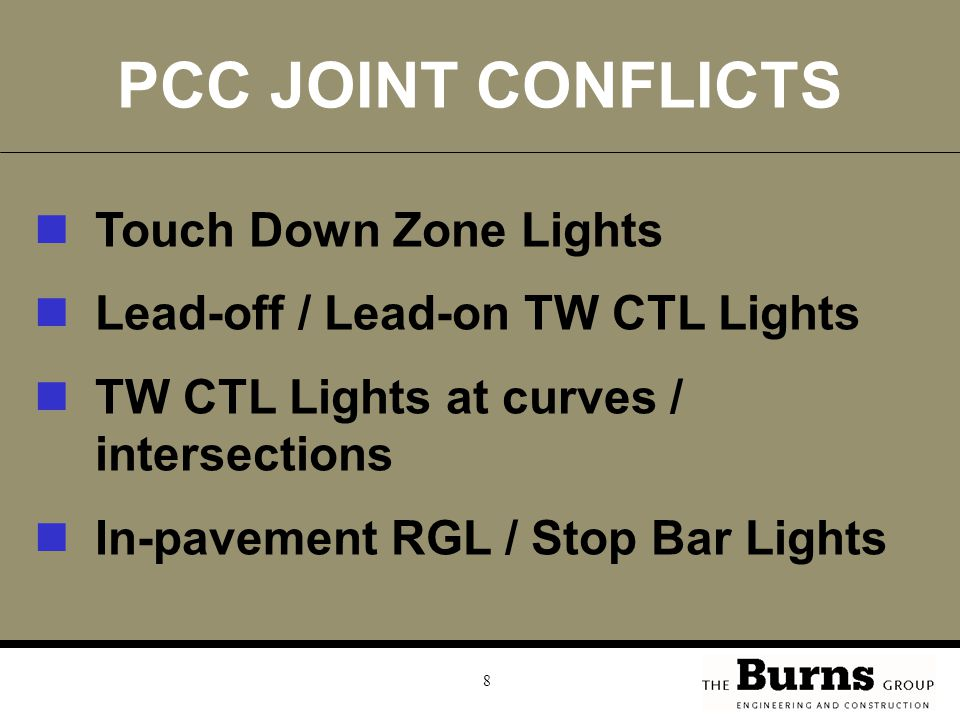 PCC JOINT CONFLICTS Touch Down Zone Lights