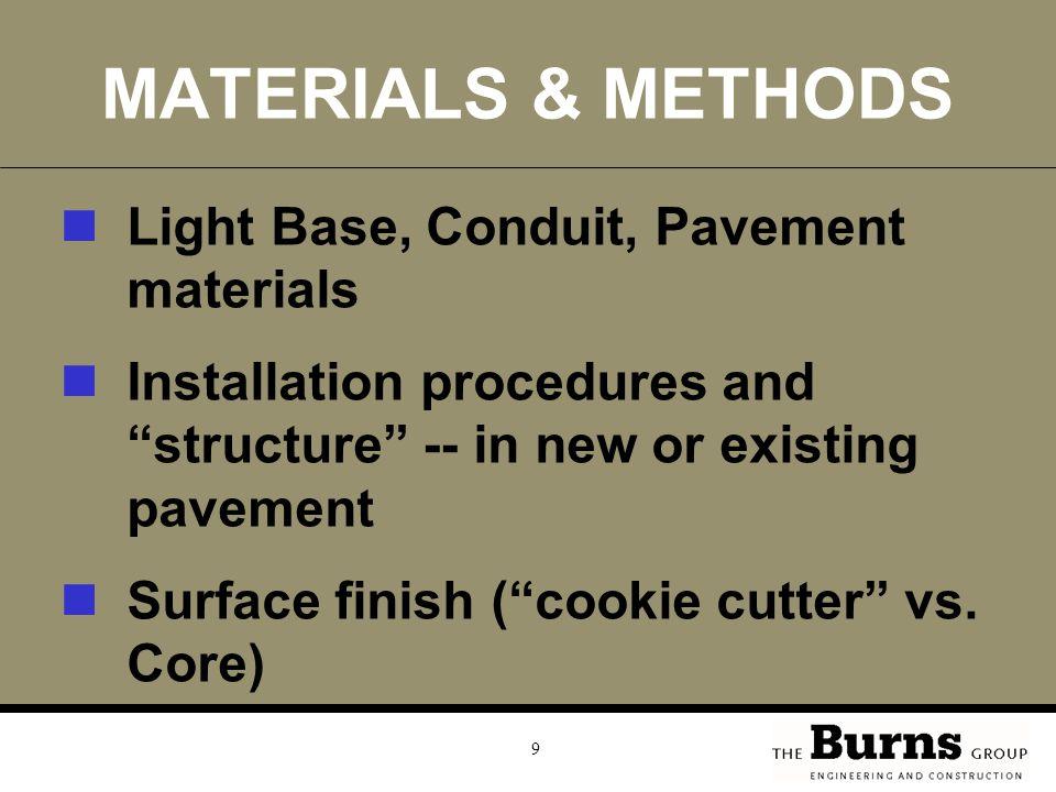 MATERIALS & METHODS Light Base, Conduit, Pavement materials
