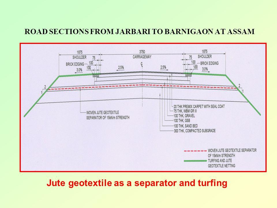 ROAD SECTIONS FROM JARBARI TO BARNIGAON AT ASSAM