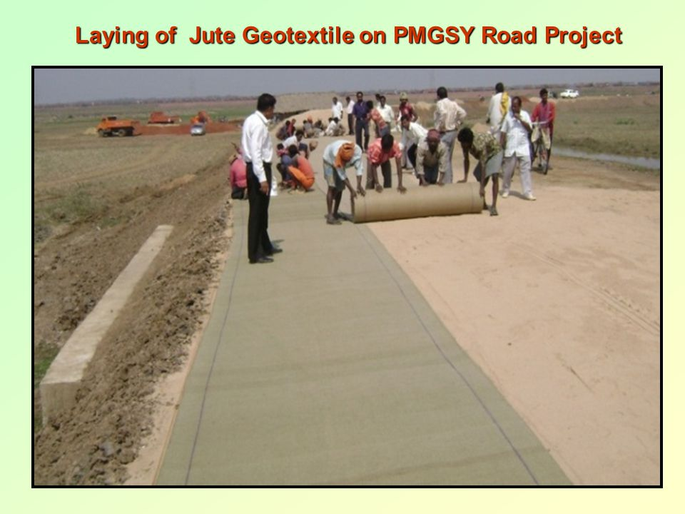 Laying of Jute Geotextile on PMGSY Road Project