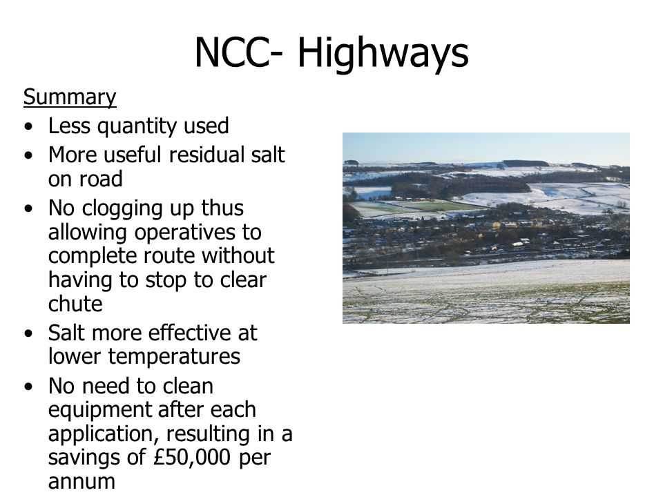 NCC- Highways Summary Less quantity used