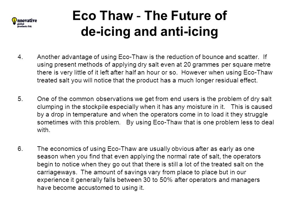 Eco Thaw - The Future of de-icing and anti-icing