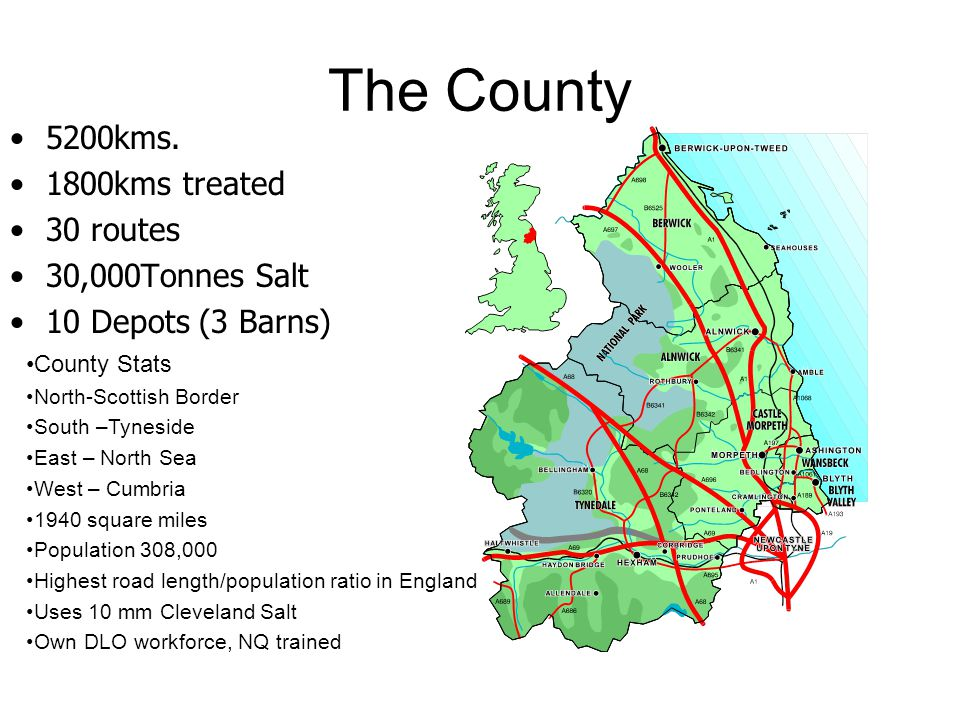 The County 5200kms. 1800kms treated 30 routes 30,000Tonnes Salt