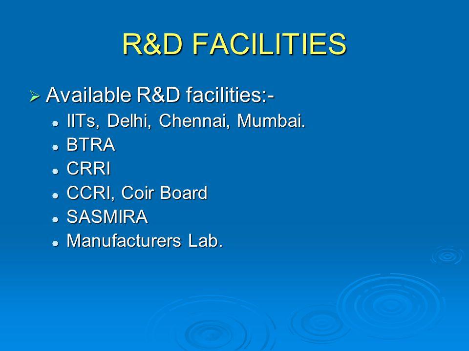 R&D FACILITIES Available R&D facilities:-
