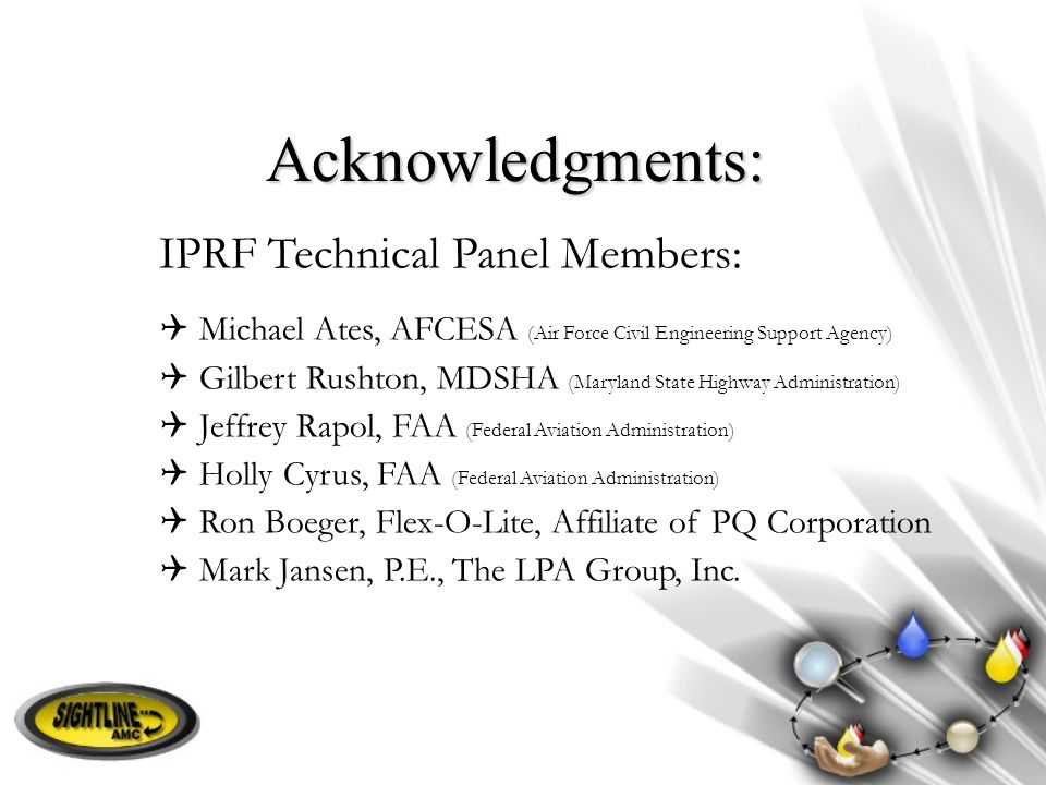 Acknowledgments: IPRF Technical Panel Members: