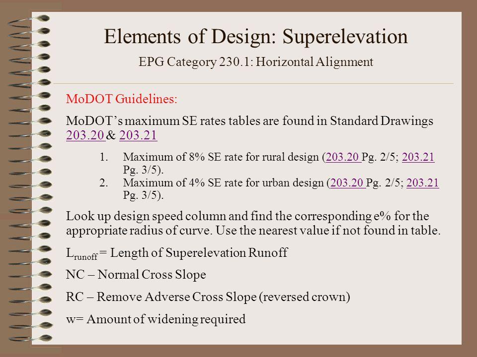 Elements of Design: Superelevation EPG Category 230