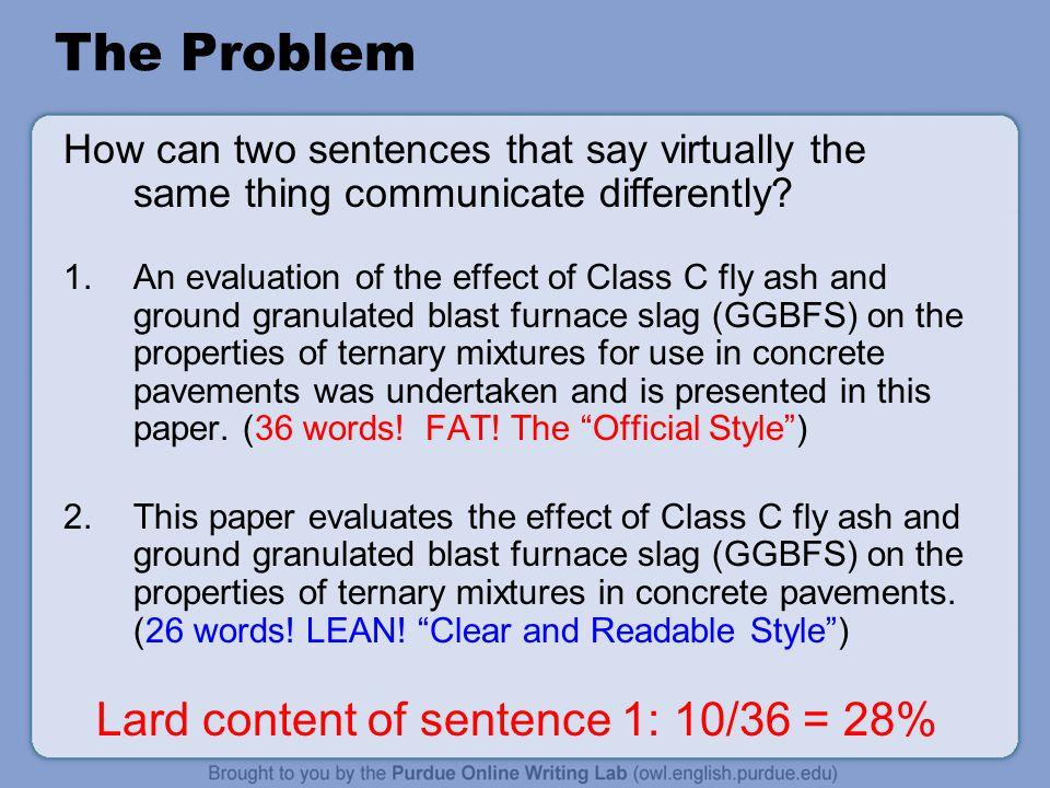 Lard content of sentence 1: 10/36 = 28%