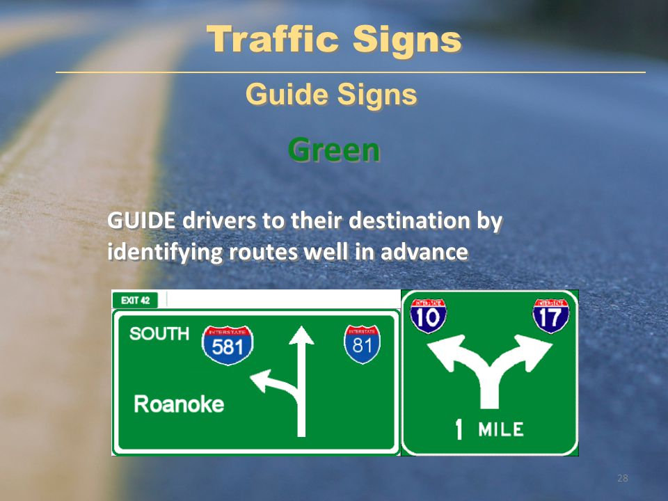Traffic Signs Green Guide Signs