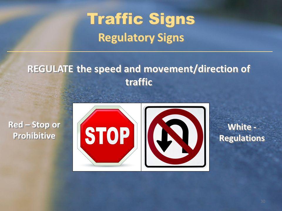 Traffic Signs Regulatory Signs
