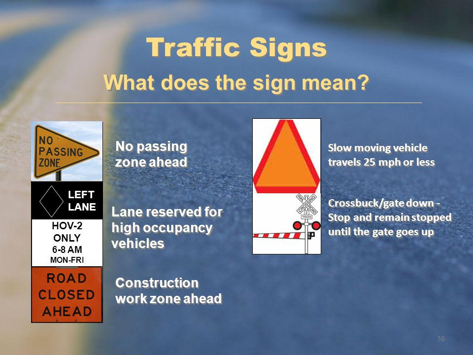 Traffic Signs What does the sign mean No passing zone ahead