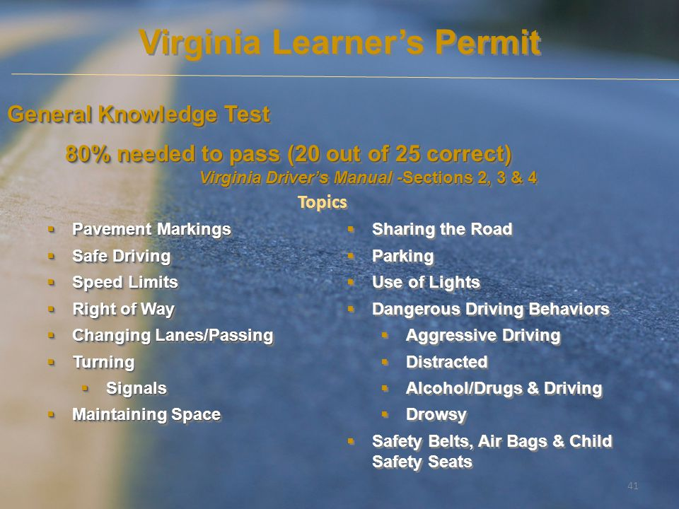 Virginia Learner's Permit Virginia Driver's Manual -Sections 2, 3 & 4