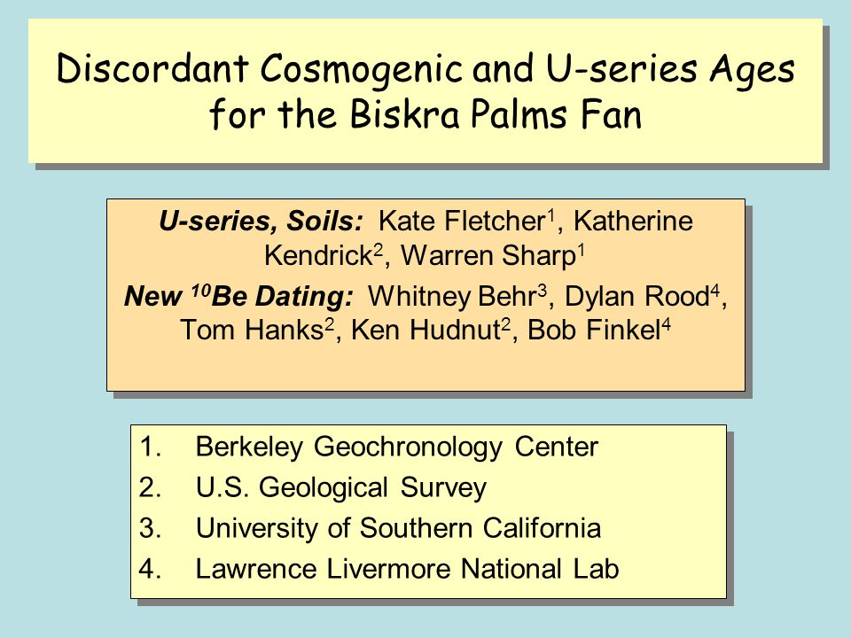 Discordant Cosmogenic and U-series Ages for the Biskra Palms Fan
