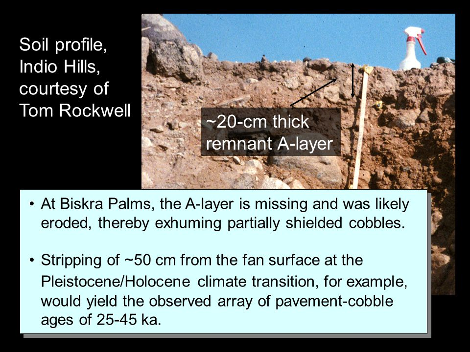 Soil profile, Indio Hills, courtesy of Tom Rockwell ~20-cm thick