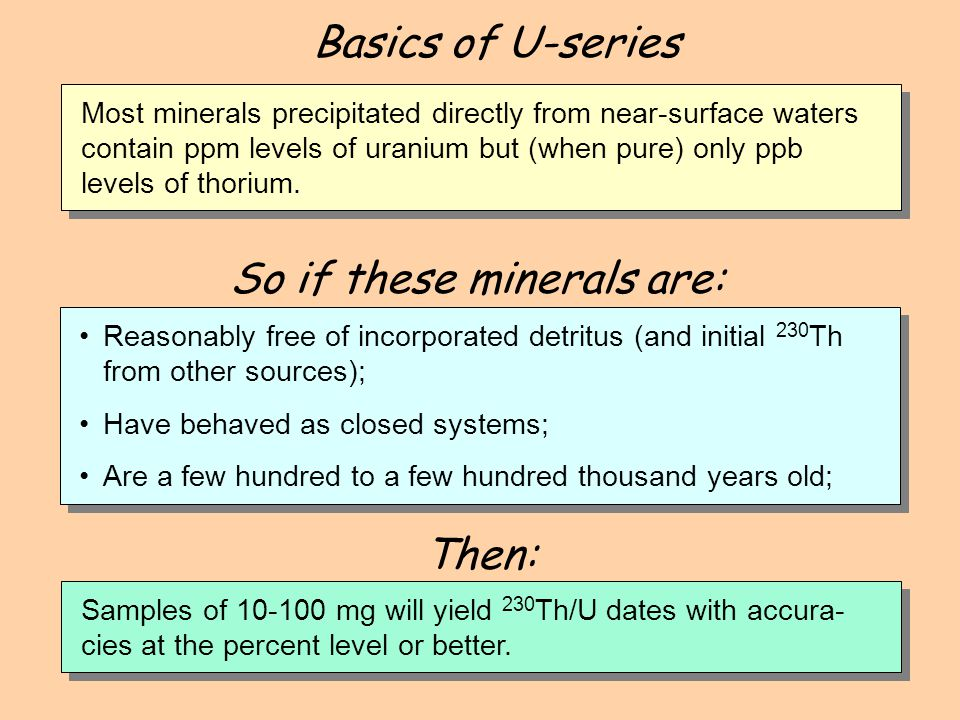 So if these minerals are: