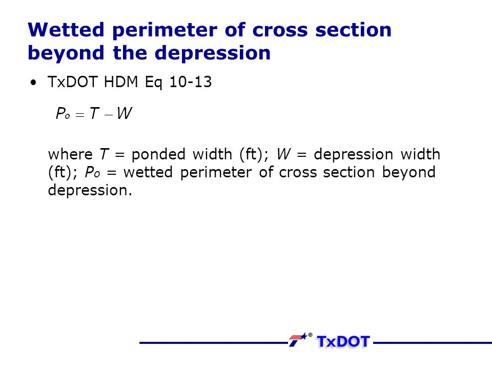 Wetted perimeter of cross section beyond the depression