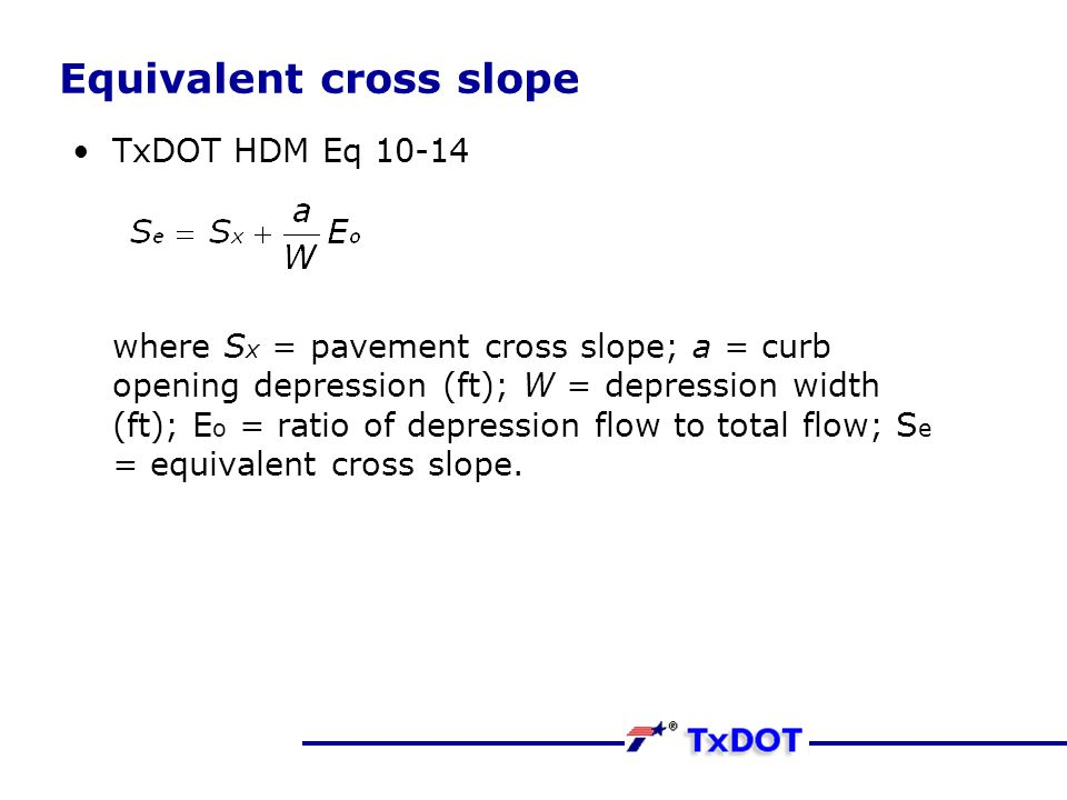 Equivalent cross slope