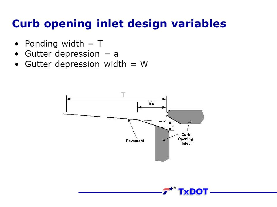 Curb opening inlet design variables