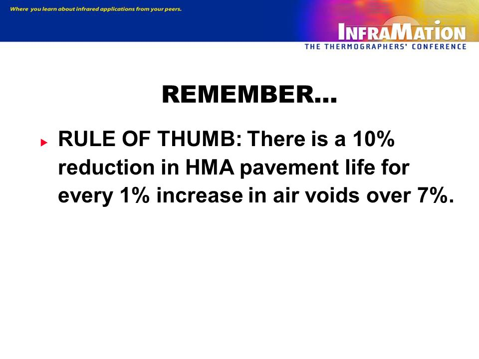 REMEMBER… RULE OF THUMB: There is a 10% reduction in HMA pavement life for every 1% increase in air voids over 7%.