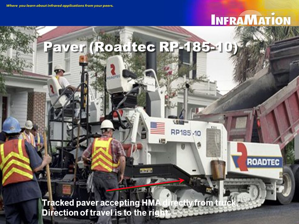 Paver (Roadtec RP-185-10) Tracked paver accepting HMA directly from truck.