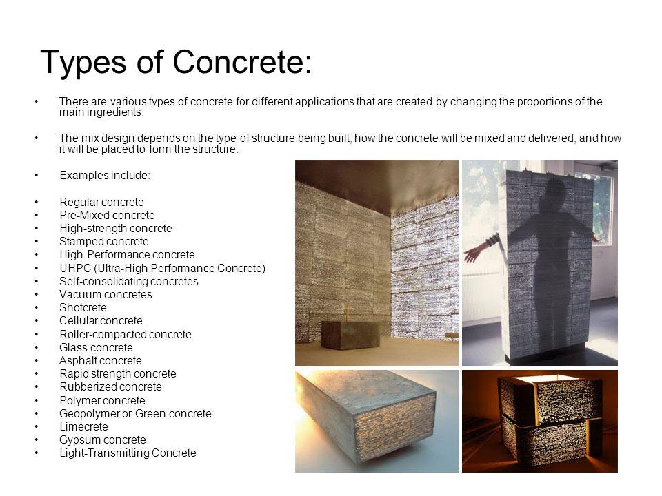 Types Of Concrete : Angelique fabbiani leon ppt video online download