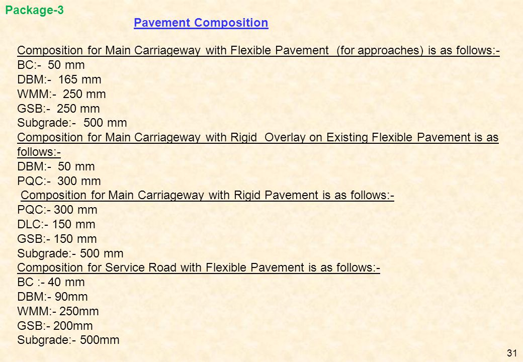 Package-3 Pavement Composition. Composition for Main Carriageway with Flexible Pavement (for approaches) is as follows:-