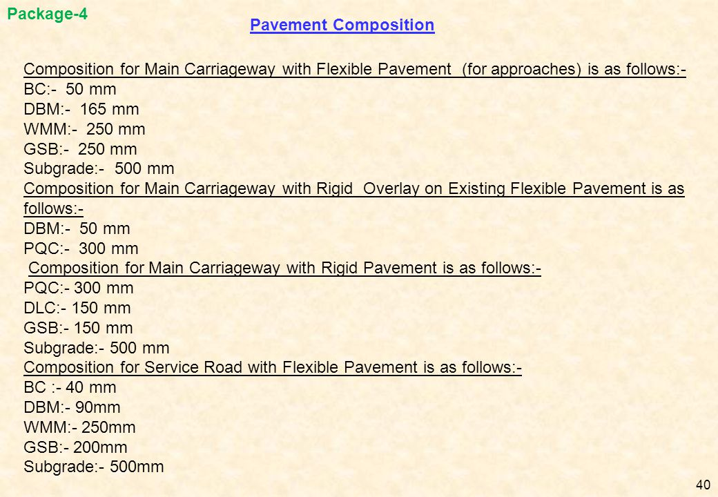 Package-4 Pavement Composition. Composition for Main Carriageway with Flexible Pavement (for approaches) is as follows:-