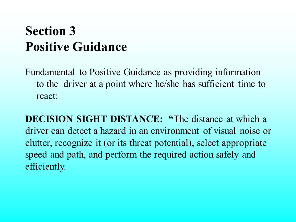 Section 3 Positive Guidance