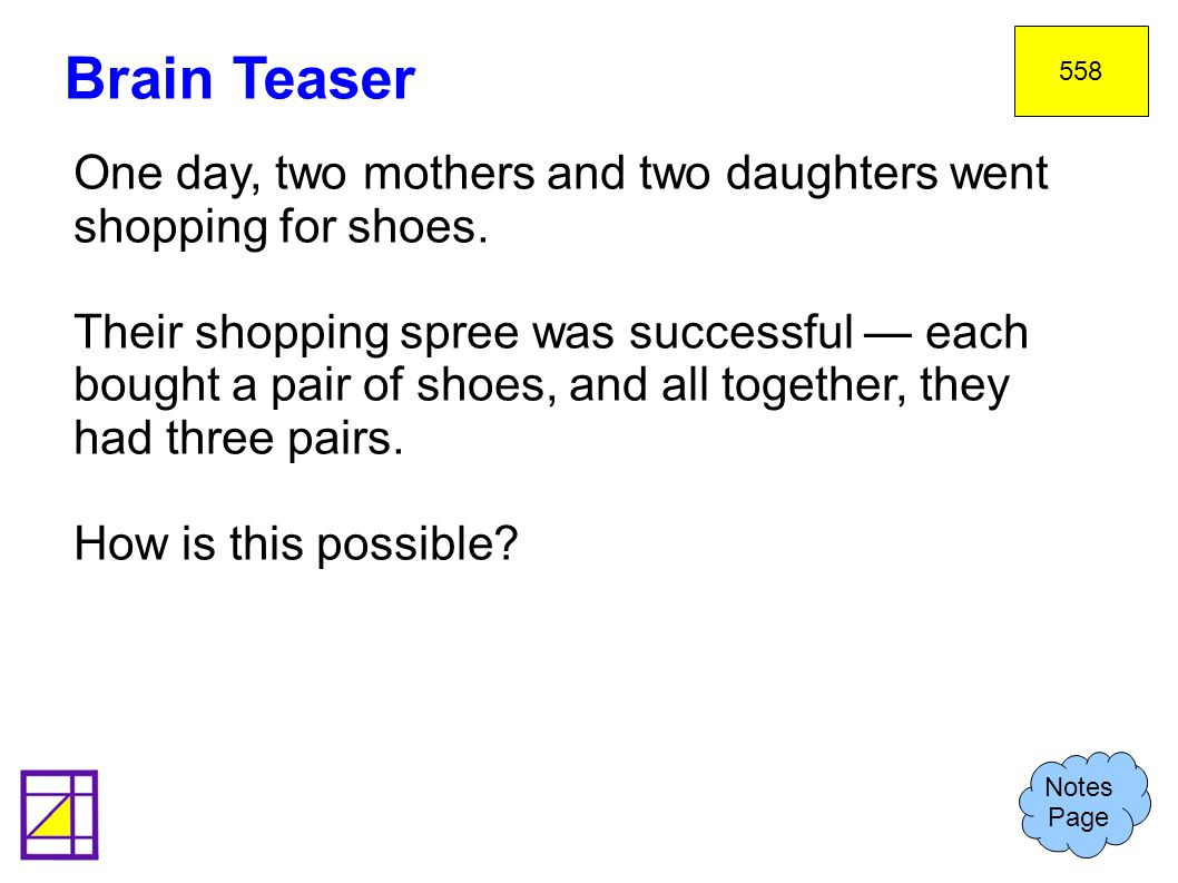 558 Brain Teaser. One day, two mothers and two daughters went shopping for shoes.