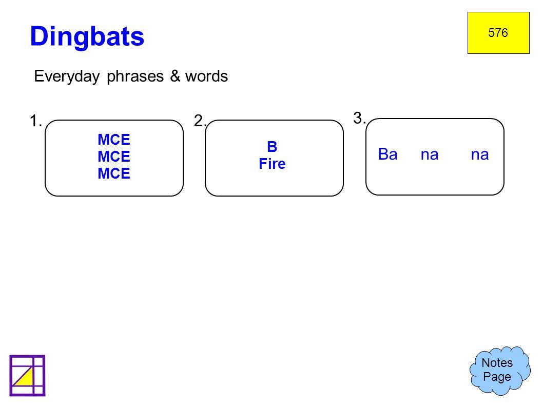 Dingbats Everyday phrases & words 1. 2. 3. Ba na na