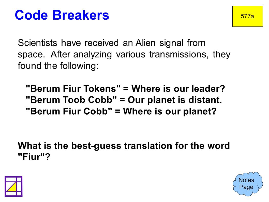 Code Breakers 577a. Scientists have received an Alien signal from space. After analyzing various transmissions, they found the following: