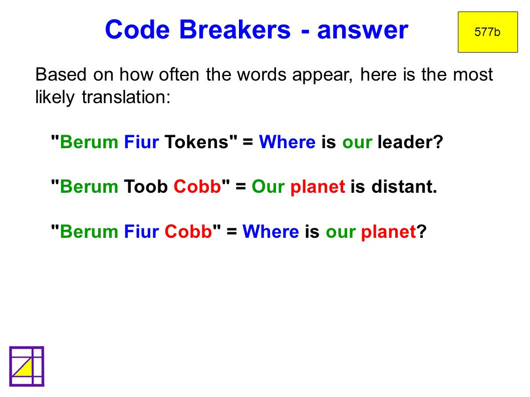 Code Breakers - answer 577b. Based on how often the words appear, here is the most likely translation: