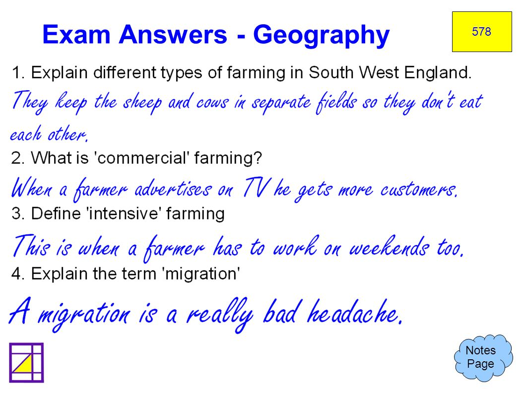 Exam Answers - Geography
