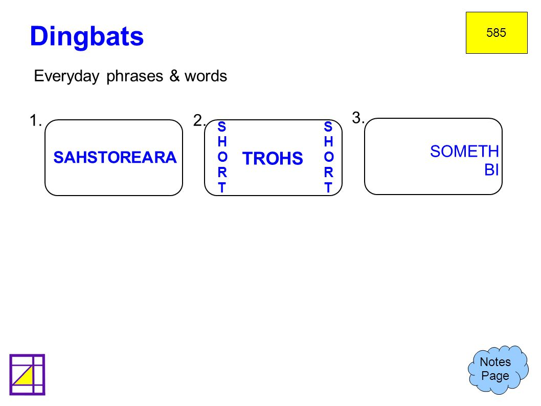 Dingbats TROHS Everyday phrases & words 1. 2. 3. SOMETH BI SAHSTOREARA