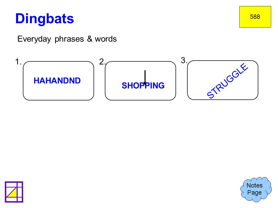 Dingbats STRUGGLE Everyday phrases & words 1. 2. 3. HAHANDND SHOPPING