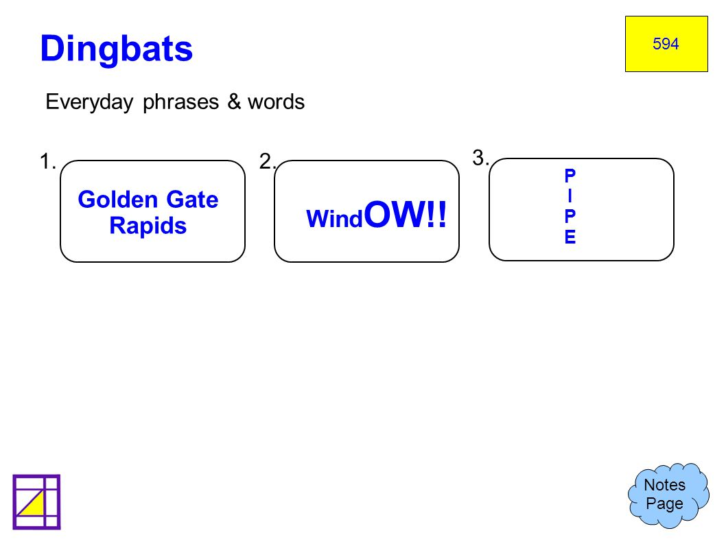 Dingbats Golden Gate WindOW!! Rapids Everyday phrases & words 1. 2. 3.