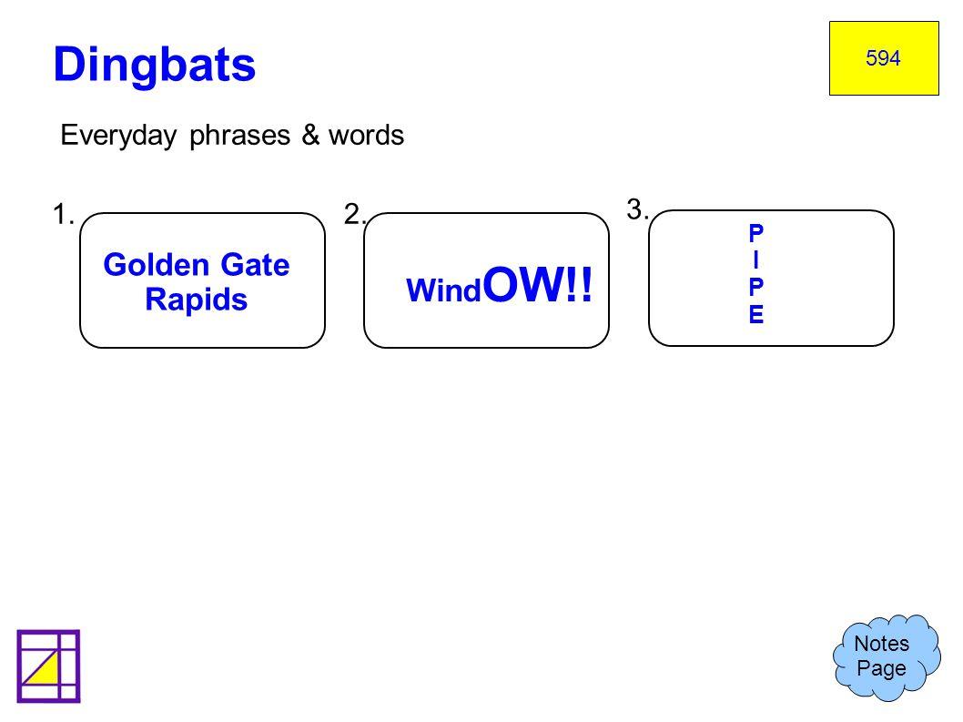Dingbats Golden Gate WindOW!! Rapids Everyday phrases & words 1. 2. 3.