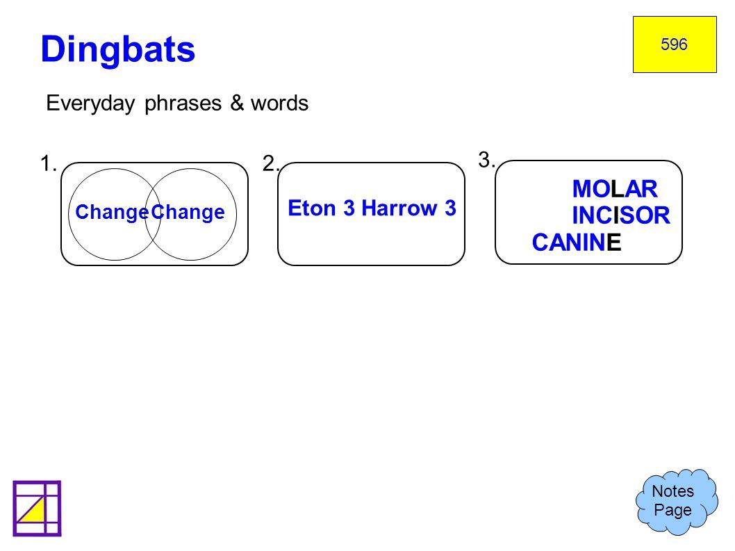 Dingbats MOLAR INCISOR CANINE Everyday phrases & words 1. 2. 3.