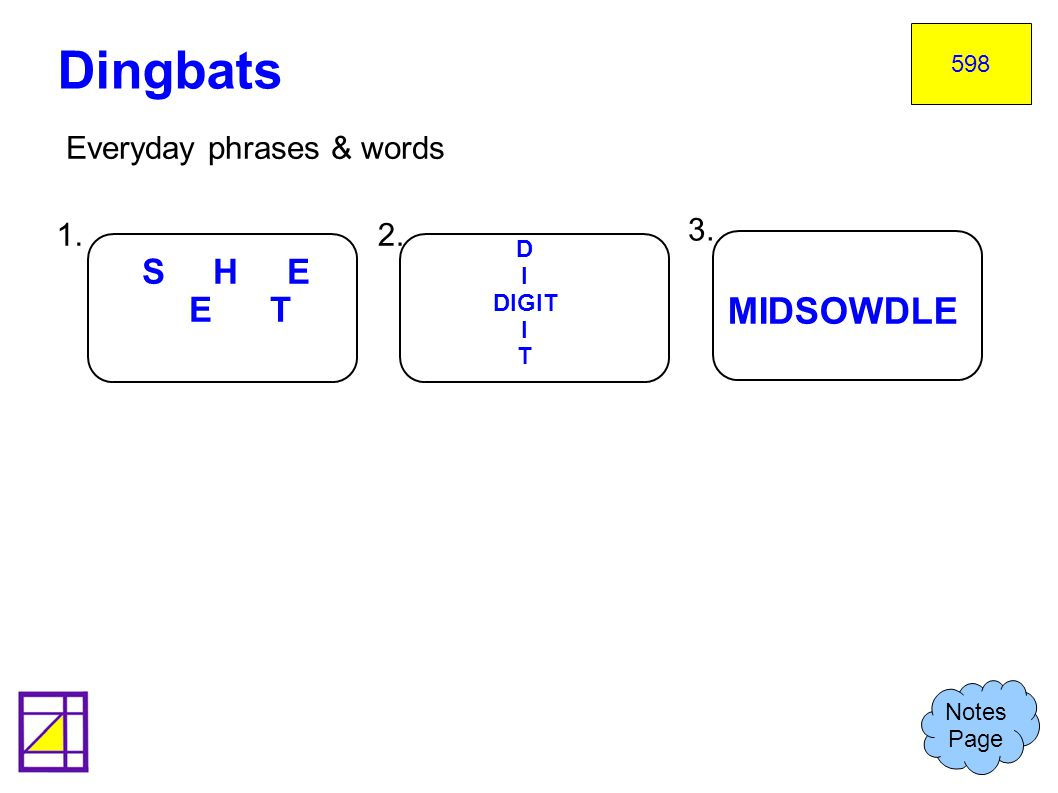 Dingbats MIDSOWDLE S H E E T Everyday phrases & words 1. 2. 3.